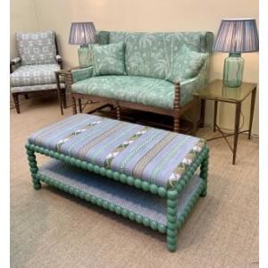 Bobbin Stool with upholstered shelf