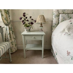Bobbin Bedside Table with shelf and drawer.