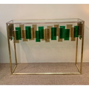 Glass Console with rectangular insert