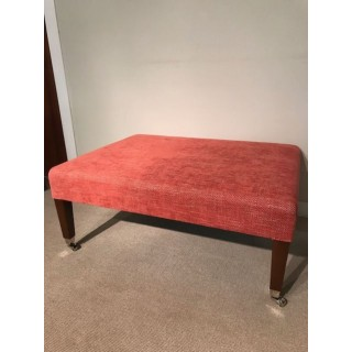 Hailes stool with castors in red chenille - SALE PRICE
