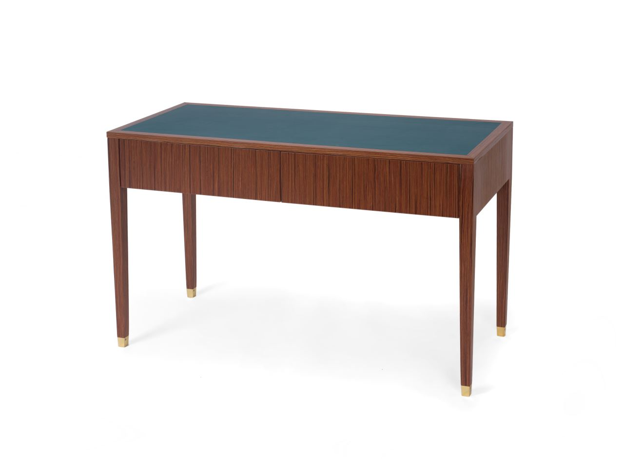 Console with leather top